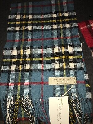 Locharron Scotland Camel Thomson Blue Tartan Lambswool Scarf Superior Quality • 22£