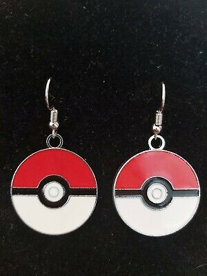 Beautiful Handmade Silver Pokeball Pokemon  Enamel Charm Earrings UK Seller • 2.50£