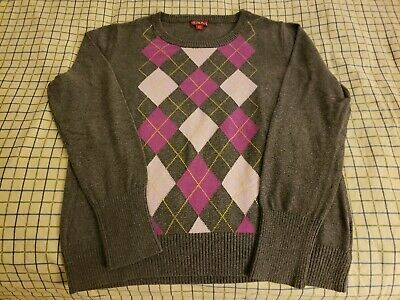 $9 • Buy Merona Women's Long Sleeve Gray Pink Grey Pullover Sweater Size XL Extra Large
