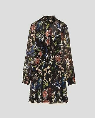 Zara Floral Printed Sheer Shift Tea Black Dress With High Shirred Neck XL  • 5.51$