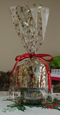 Yankee Candle Christmas Gold Metal Sml Shade & The Perfect Tree Sml Jar Gift Set • 19.95£