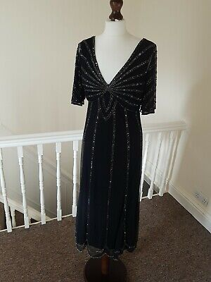 £50 • Buy BNWT Principles 14 Black Beaded Cocktail Dress Party Evening Fitted Midi Rrp€205