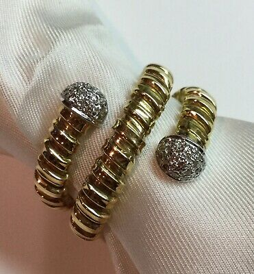 $1300 • Buy 18K Yellow Solid Gold Ring With Diamonds In A Snake Design Sz 9 1/2 - 9 3/4