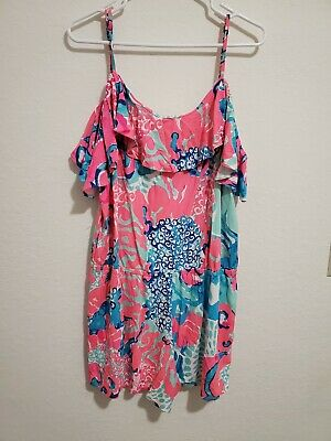 $57 • Buy Klea Romper EUC Coral Reef I'm So Jelly XXL Lilly Pulitzer Pink Off The Shoulder