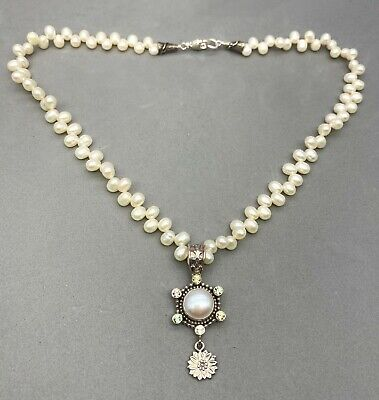 $140 • Buy Petite Mars And Valentine Sterling Silver Mabe Pearl & Gemstone Necklace REDUCED