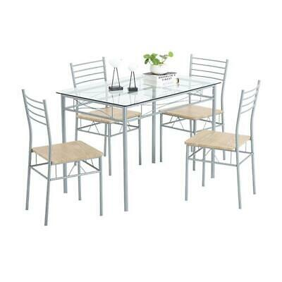 5 Piece Glass Dining Table Set 4 Chairs Room Kitchen Breakfast Furniture Silver • 129$