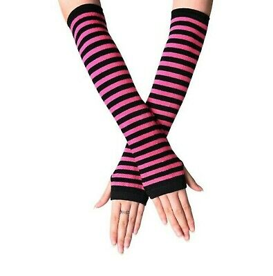 £3.47 • Buy Fingerless Thumb Gloves Arm Warmers Striped Ladies Women Mitten Black And Pink