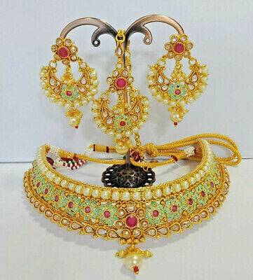 Indian Jewelry High Quality Bollywood Style AD Bridal Choker FASHION Set BY 446 • 34.99$