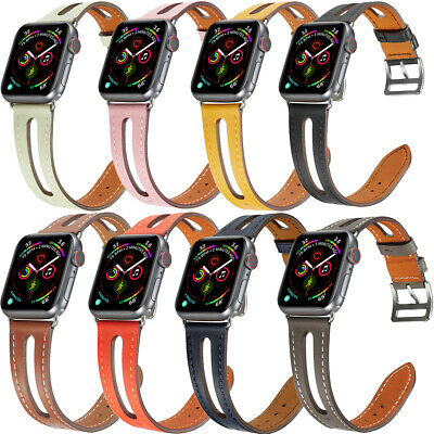 $ CDN16.17 • Buy Cowhide Genuine Leather Straps Bands For Apple Watch 42mm 44mm Series 5 4 3 2 1