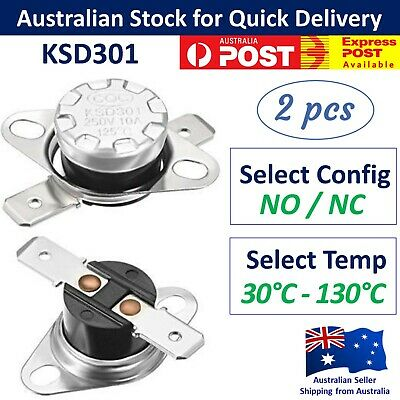 AU7.95 • Buy 2x KSD301 Temperature Thermostat Thermal Switch - 250V 10A NO / NC Thermo Switch