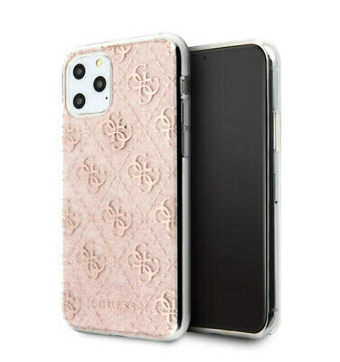 Genuine Guess 4G Silicone Rose Gold Glitter Transparent Case For IPhone 11 Pro • 19.95£