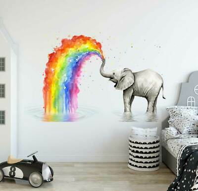 Elephant Rainbow Wall Decal Kids Nursery Stickers Baby Cot Decor Art Mural Gift • 26.66£