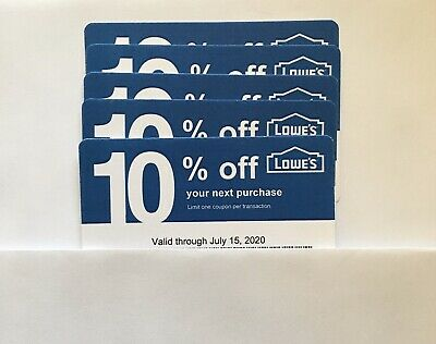$5.99 • Buy 5- Lowe's Blue Card 10% Off For Home Depot + Other Comp Not Lowe's  Exp 07/15/20