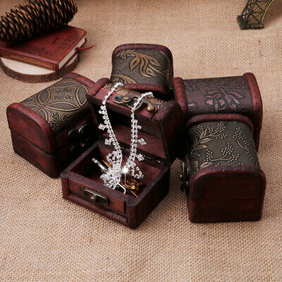 $5.41 • Buy Vintage Jewelry Pearl Necklace Bracelet Storage Holder Lock Wooden Case Gift Box
