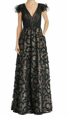 $134.99 • Buy Aidan Mattox Sequin Embroidered Ruffle Sleeve Gown $440 Size 2 # 10B 1176 NEW