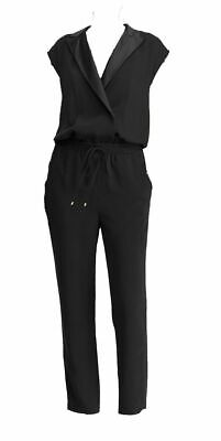 $49.47 • Buy New $425 Lauren Ralph Lauren Women's Black Satin-Trim V-Neck Tuxedo Jumpsuit 8