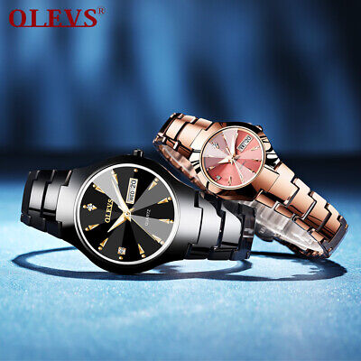 $ CDN30.67 • Buy OLEVS Women Men Waterproof Tungsten Steel Quartz Wristwatch Casual Couples Watch