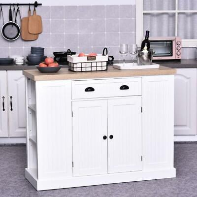 White Kitchen Island Large Storage Cabinet Buffet Sideboard Breakfast Bar Table • 229.99£