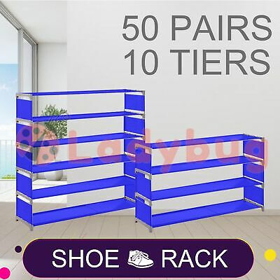 AU24.95 • Buy 50 Pairs 10 Tiers Stackable Storage Shoe Rack Cabinet Organiser Fabric Blue
