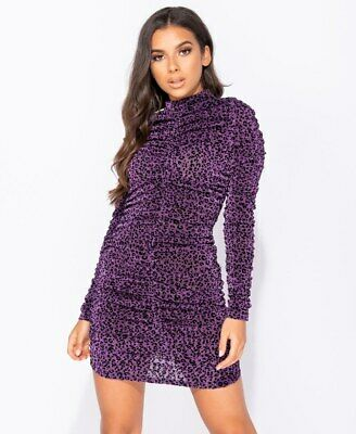 AU29.07 • Buy Women Leopard Print Long Sleeve Bodycon Evening Party Cocktail Club Mini Dress