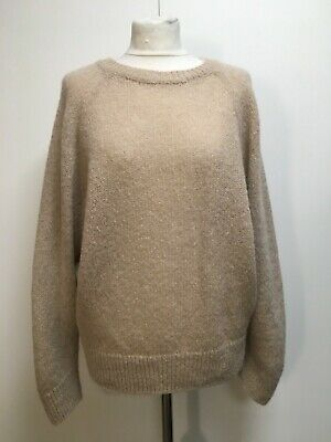 Beige Sweater Batwing Sleeve Knitted Jumper Loose Knit Slouchy 12 • 8£