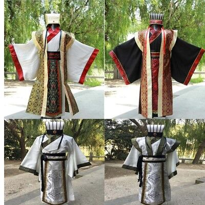 Chinese Mens Han Clothing Emperor Prince Show Cosplay Suit Robe Costume With Hat • 38.99£