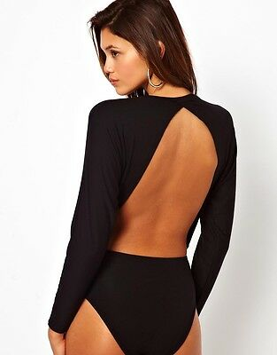 £10.99 • Buy Womens Open Back Cut Out Backless Batwing * Sleeve Black Bodysuit Leotard Top