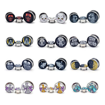 $8.99 • Buy Pair Of Screw On Picture Plugs Gauges Choose Style And Size 16g Thru 1 Inch