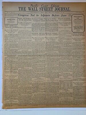 $63 • Buy June 5 1936 Wall Street Journal Newspaper Pacific Coast Edition