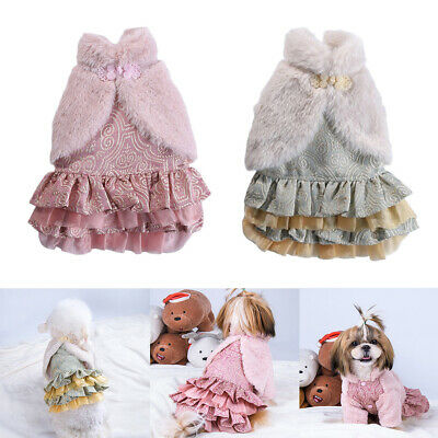 Dog Dresses Pet Clothes Party Gowns Evening Prom Dress Winter Warm Cloth • 10.24£