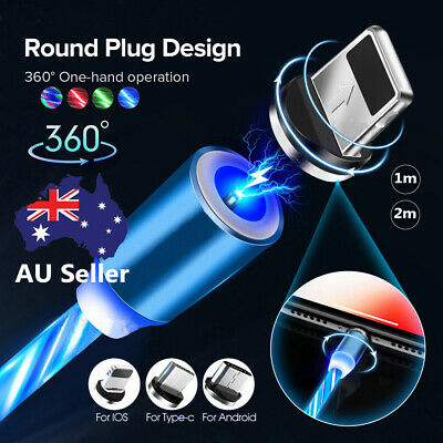 AU16.79 • Buy AU LED Flowing Light Up Magnetic Fast Charger Cable For Micro USB Samsung IPhone
