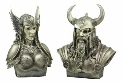 Ebros Norse Viking Chief God Odin And Goddess Valkyrie Busts Statue Set Figurine • 58.80£
