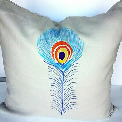 Taupe Linen Hand Painted Peacock Feather Indoor Pillow Cover With Zipper • 12.92£