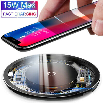 $ CDN10.83 • Buy For IPhone SE 12 11 Pro XS Max X 8 15W Qi Wireless Charger Fast Charging Pad Mat