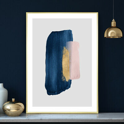 Blue Gold Pink Wall Art Watercolour Home / Bedroom Painting Print Poster A4 - A1 • 9.99£