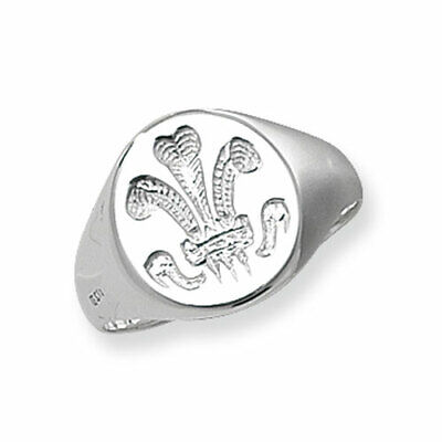 Sterling Silver Gents Welsh Feather Signet Ring NEW LARGE SIZES K---Z+7 • 19.95£