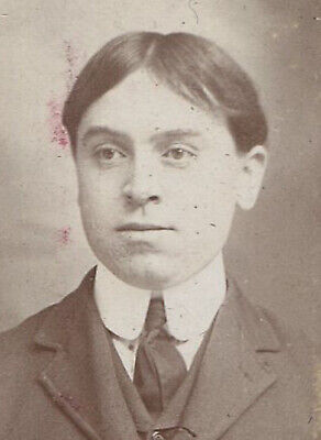 Young Man With Board Straight Hair, High Collar. Oval Silver Print. Circa 1900. • 22.50£