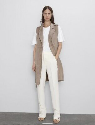 $30 • Buy Zara Faux Suede Vest Size Large Taupe NWOT
