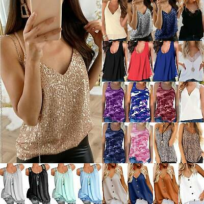 AU10.25 • Buy Summer Womens Ladies Sleeveless Beach Casual Tank Tops Vest Camisole Holiday Top