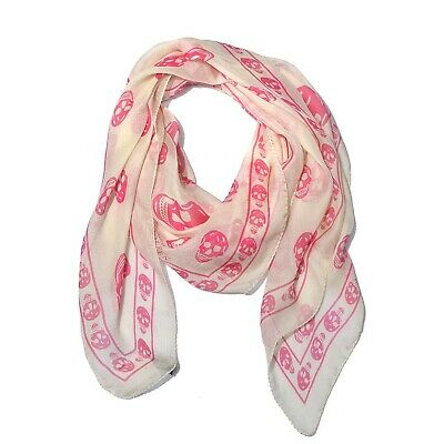 AU170.85 • Buy Authentic  ALEXANDER MCQUEEN Silk Chiffon Skull Scarf Off White - Pink