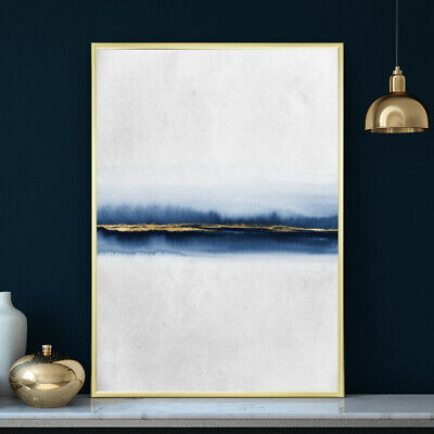 Blue & Gold Wall Art Minimalist Abstract Decor Watercolour Painting Print Poster • 19.99£