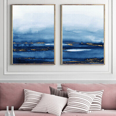 Abstract Wall Art Set Watercolour Painting Print Poster Decor Blue Gold A4 - A1 • 13.99£