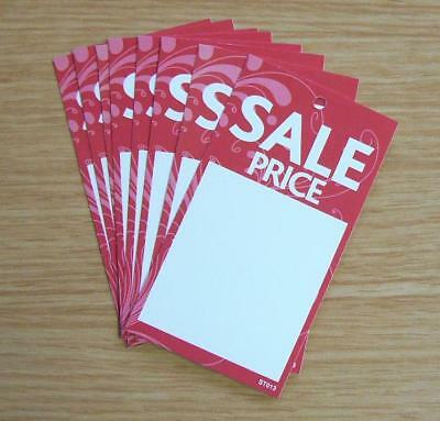 SALE PRICE TAGS SWING TICKETS LABELS FOR USE WITH TAGGING GUN  X 100 (ST013 RED) • 2.90£
