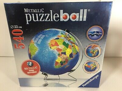 $62.97 • Buy NEW Ravensburger Metallic Earth 540 Piece Puzzle Ball With Stand Globe 3D Jigsaw