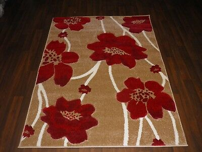 Top Quality 120x170cm Aprox 6x4ft Rugs/mat Hand Carved Poppy Designs Beige/red  • 49.99£