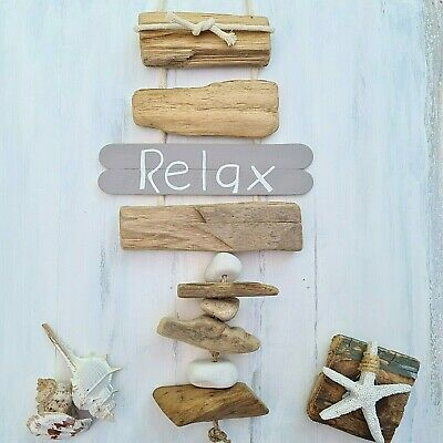 Shabby Driftwood Chic Wooden Relax Nautical Beach Theme Pebble Door Plaque Sign • 8.99£