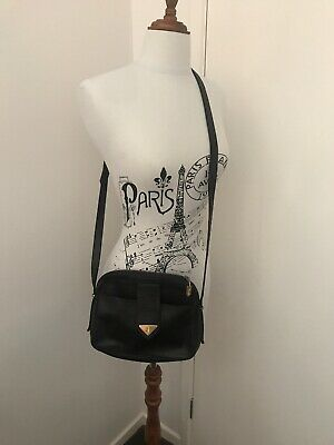 AU99 • Buy Vintage YSL Yves Saint Laurent Leather Crossbody Bag Handbag Black Gold Hardware