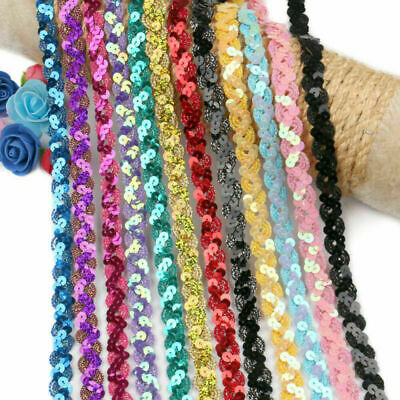 5 Yards Glitter Sequins Triming Clothing Wedding Dress Ribbons Fabric Sewing DIY • 2.19£