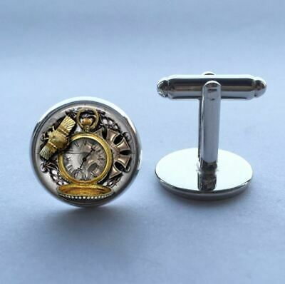 Steampunk Clock Cabochon Vintage Cufflinks Cuff Links Mens Executive Gift Him UK • 2.99£