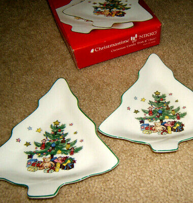 $13.50 • Buy Nikko Christmastime Set Of 2 Candy Dishes 6  Christmas Tree Shape In Box